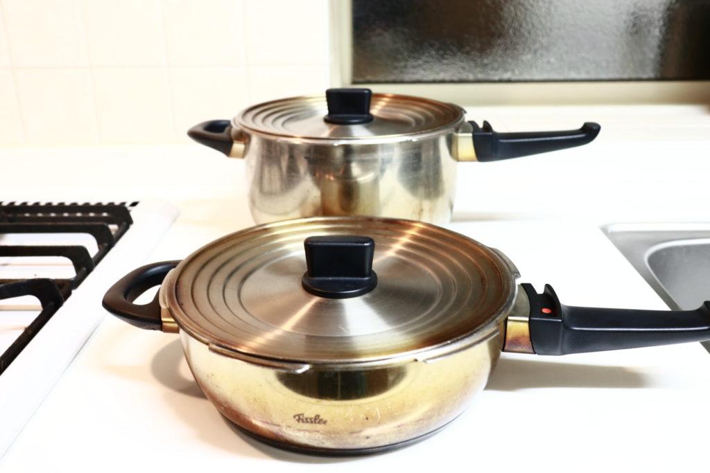 無印良品の兼用蓋をフィスラーのステンレス鍋に