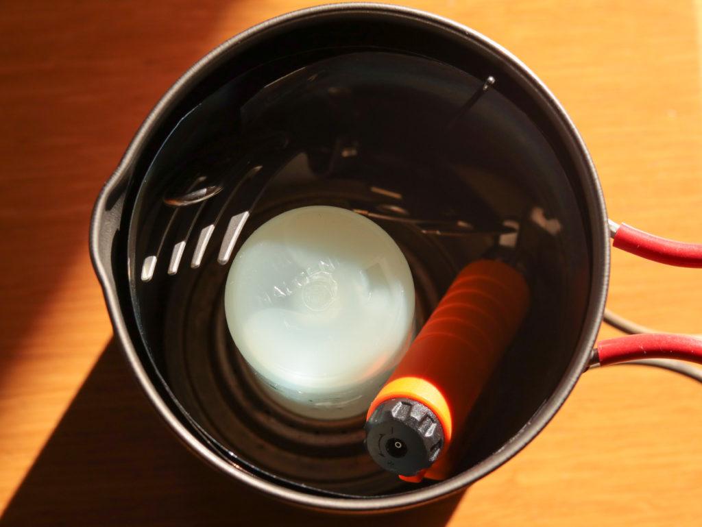 トランギアのアルコールストーブを使った湯沸し専用セット一式のスタッキング