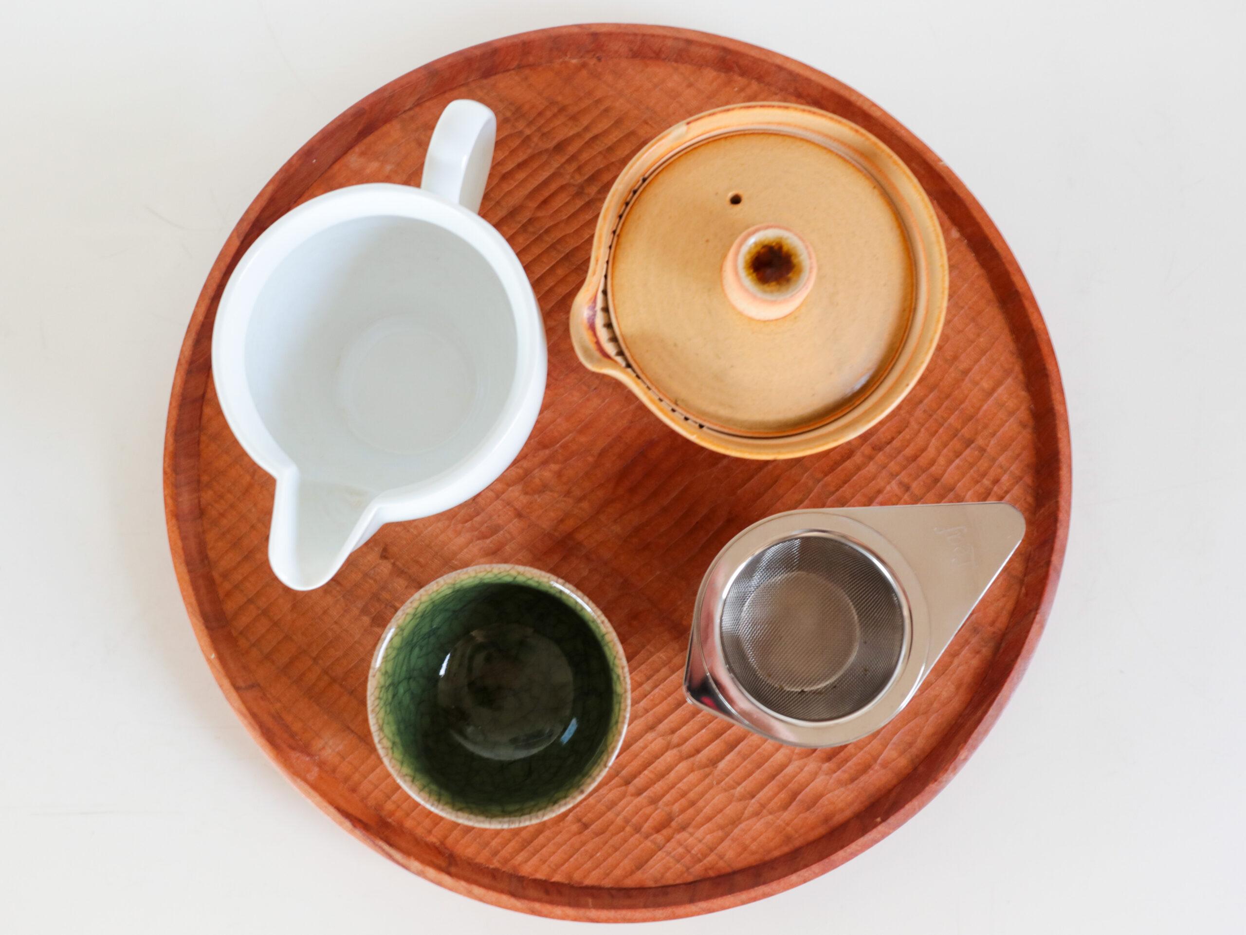 【ひとり専用お茶セット】お気に入りの道具や茶器で淹れるおいしい緑茶で、ほっとひといきティータイム